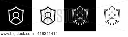 Set User Protection Icon Isolated On Black And White Background. Secure User Login, Password Protect