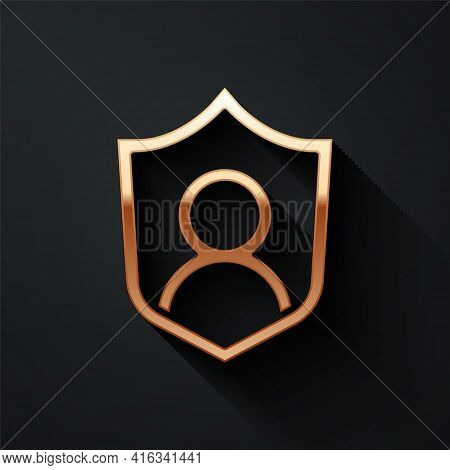Gold User Protection Icon Isolated On Black Background. Secure User Login, Password Protected, Perso