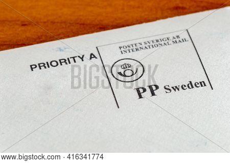 Pruszcz Gdanski, Poland - April 8, 2021: Printed Stamp Of Sweden Post For International Mail.