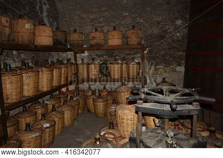 Cellar Of An Armagnac Distillery In The Town Of Condom, France