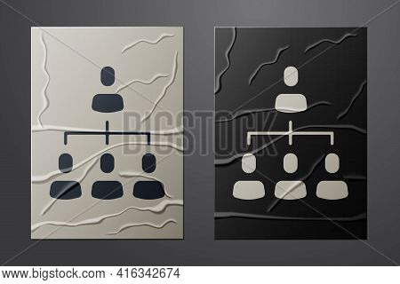 White Business Hierarchy Organogram Chart Infographics Icon Isolated On Crumpled Paper Background. C