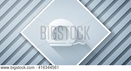 Paper Cut Dental Floss Icon Isolated On Grey Background. Paper Art Style. Vector