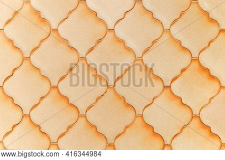 Hexagonal Tile Wall Close Up. Background Of Hexagonal Clay Tiles Texture.