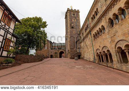 Castle Courtyard With Keep Of Wartburg Castle Near Eisenach, Thuringia