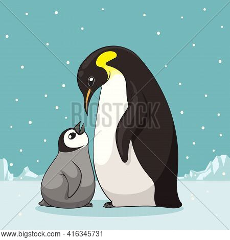 Family Of Penguins In Cartoon Style. Penguin Character Design. Vector Illustration