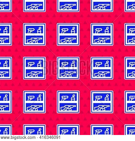 Blue Hunting Shop With Rifle And Gun Weapon Icon Isolated Seamless Pattern On Red Background. Superm