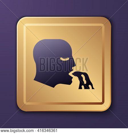 Purple Vomiting Man Icon Isolated On Purple Background. Symptom Of Disease, Problem With Health. Nau