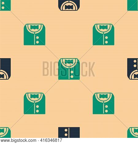 Green And Black Suit Icon Isolated Seamless Pattern On Beige Background. Tuxedo. Wedding Suits With