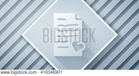 Paper Cut Envelope With Valentine Heart Icon Isolated On Grey Background. Message Love. Letter Love