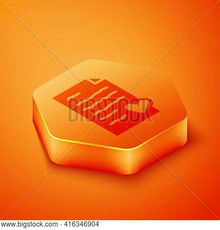 Isometric Envelope With Valentine Heart Icon Isolated On Orange Background. Message Love. Letter Lov