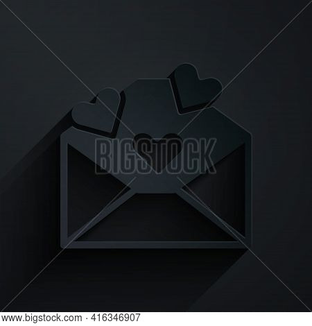Paper Cut Envelope With Valentine Heart Icon Isolated On Black Background. Message Love. Letter Love