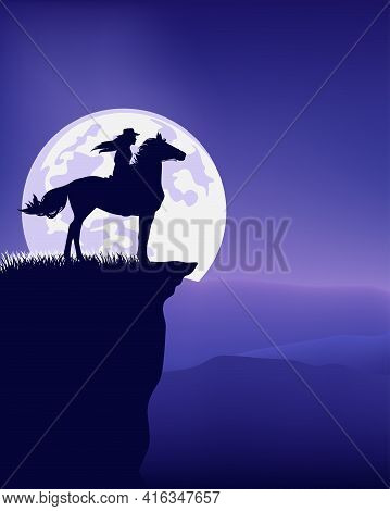 Cowgirl Riding Horse Standing At Mountain Cliff Top Against Full Moon -  Nighttime Great Outdoors Wi
