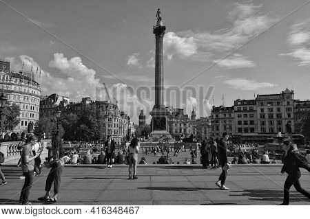 London, Great Britain - May 21, 2018 : View Of Tourists And Londoners Around  The Trafalgar Square I