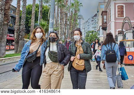 Antalya, Turkey - March 20, 2021: Turkey Has Made Wearing Of Face Masks Mandatory In Antalya Provinc