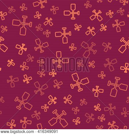 Brown Line Paddle Icon Isolated Seamless Pattern On Red Background. Paddle Boat Oars. Vector