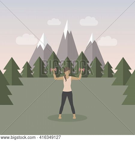 Sporty Girl Does Outdoor Sport With Dumbbells On Mountain Landscape