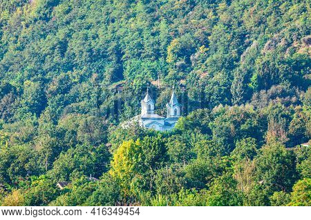 Monastery In The Green Forest . Spiritual Place For Solitude