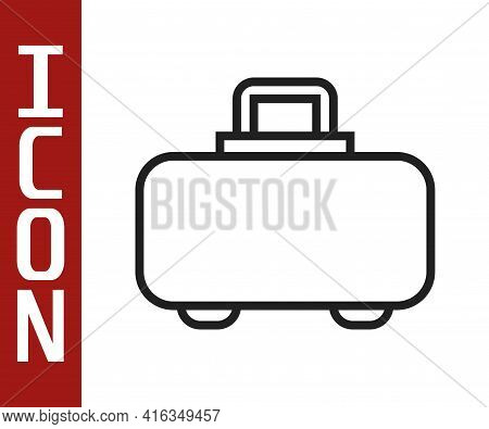 Black Line Weapon Case For Storing And Transporting Weapons Icon Isolated On White Background. Vecto
