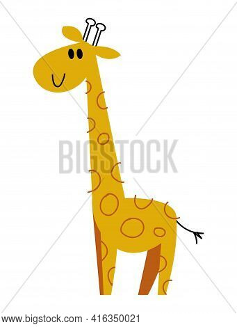 Cute Giraffe Cartoon Vector. Image In Cartoon Style Isolated On White Background. Trending Style And
