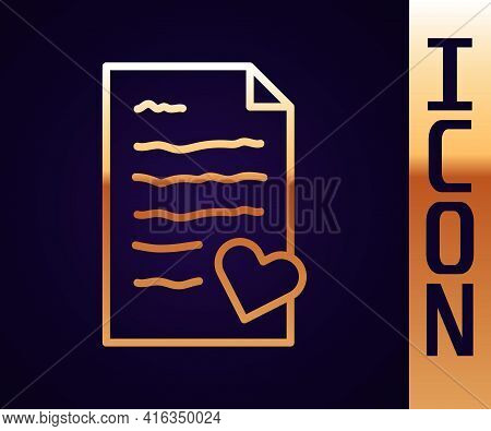 Gold Line Envelope With Valentine Heart Icon Isolated On Black Background. Message Love. Letter Love