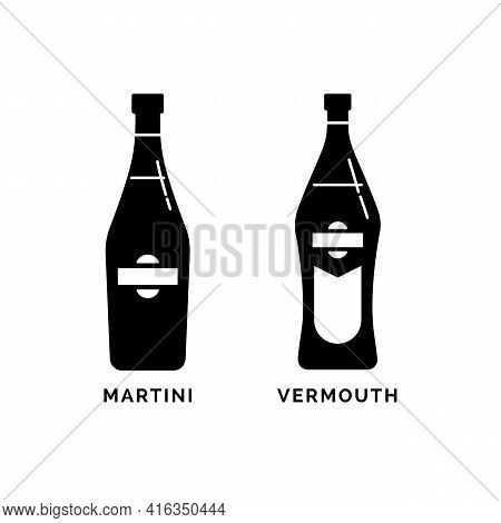 Bottle Martini And Vermouth As Silhouette. Alcohol Drink Drawing. Black White. Decoration Element. B