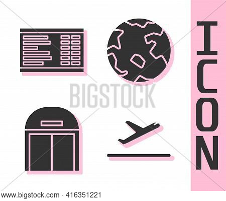 Set Plane Takeoff, Airport Board, Aircraft Hangar And Worldwide Icon. Vector