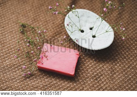 Natural Handmade Soap Bar With Ceramic Soap Dish And Flowers, Spa Organic Soap, Sustainable Lifestyl