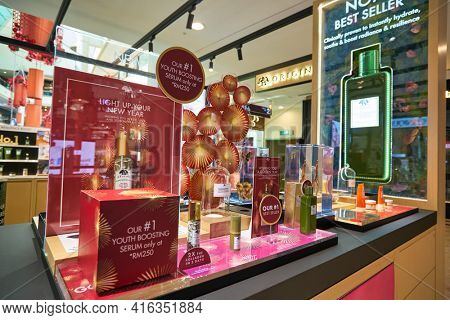 KUALA LUMPUR, MALAYSIA - CIRCA JANUARY, 2020: close up shot of Origins personal care products on display at Suria KLCC shopping mall in Kuala Lumpur.