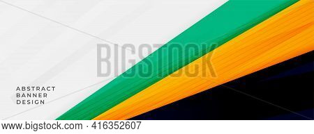 Abstract Wide Banner With Sporty Colors Vector Template Design