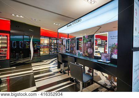 KUALA LUMPUR, MALAYSIA - CIRCA JANUARY, 2020: interior shot of Sephora store in Suria KLCC shopping mall in Kuala Lumpur.