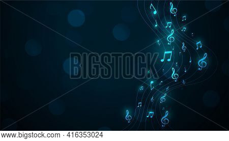 Glowing Musical Pentagram Background With Sound Notes