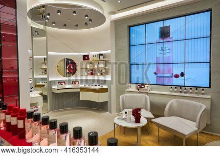 KUALA LUMPUR, MALAYSIA - CIRCA JANUARY, 2020: bottles of Dior fragrance sit on display at a store in Suria KLCC shopping mall in Kuala Lumpur.