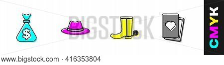 Set Money Bag, Western Cowboy Hat, Cowboy Boot And Deck Of Playing Cards Icon. Vector