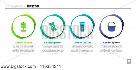 Set Road Traffic Signpost, Kayak Or Canoe, Flashlight And Camping Pot. Business Infographic Template