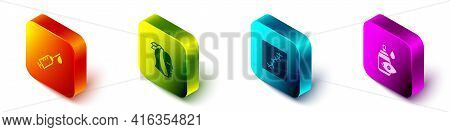 Set Isometric Syringe, Toothache, Scar With Suture And Eye Drop Bottle Icon. Vector