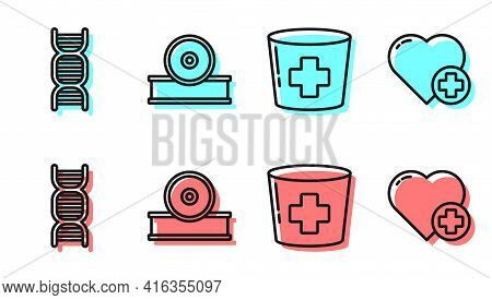 Set Line Nurse Hat With Cross, Dna Symbol, Otolaryngological Head Reflector And Heart With A Cross I