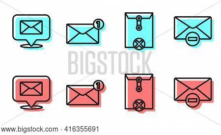 Set Line Delete Envelope, Speech Bubble With Envelope, Envelope And Delete Envelope Icon. Vector