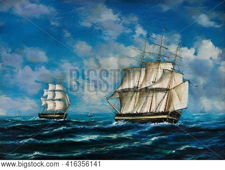 Oil Painting Of An Encounter Between Two Tall Ships On The High Seas, Studio Photography, Hamburg, G