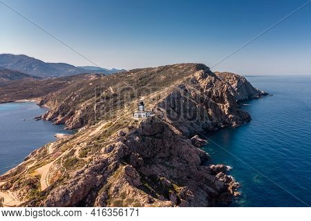 Aerial View Of Revellata Lighthouse On A Rocky Promontory Near Calvi In The Balagne Region Of Corsic