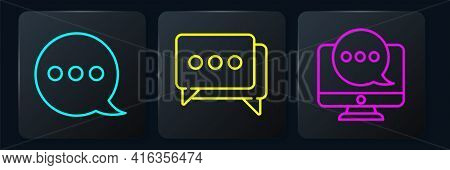 Set Line Speech Bubble Chat, Chat Messages Notification On Monitor And Speech Bubble Chat. Black Squ
