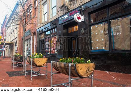 NORWALK, CT,USA  - APRIL 10, 2021:  New SONO  Boil Crawfish and Crab restaurant view from Washington street