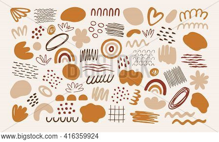 Set Of Abstract Organic Art Style Shapes. Big Collection Of Doodle Elements In Trendy Minimal Design