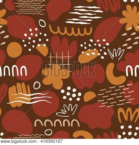 Seamless Pattern With Organic Shapes: Dots, Lines, Spots, Waves, Flowers. Illustration With Doodles