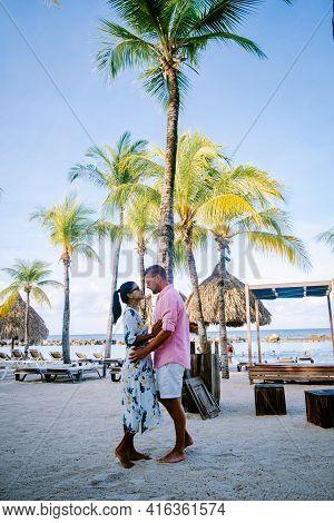 Mambo Beach On The Caribbean Island Of Curacao, Beautiful White Beach Curacao Caribbean, Couple Men