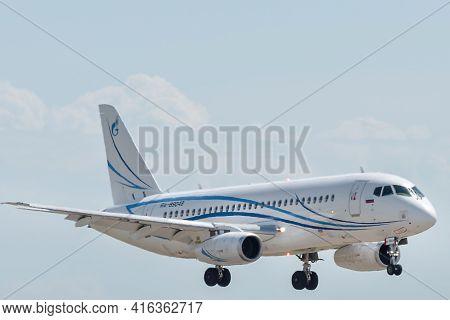 July 2, 2019, Moscow, Russia. A Sukhoi Superjet 100 Of The Gazpromavia Airline At The Airfield Of Vn