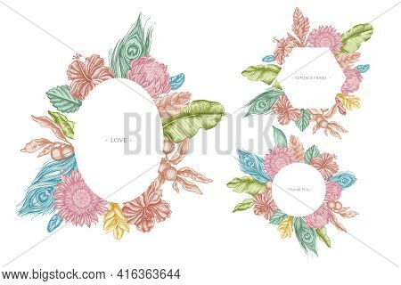Floral Frames With Pastel Banana Palm Leaves, Hibiscus, Solanum, Bromeliad, Peacock Feathers, Protea
