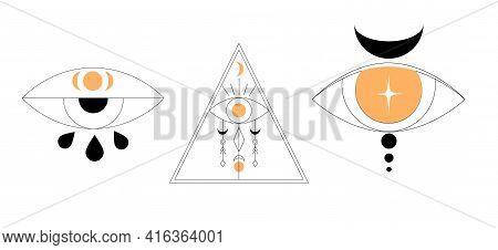 Boho Mystery Logo Set. Alchemy Magic Eyes In Hand Drawn Style.
