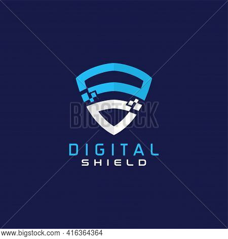 Digital Shield With Blue And White Geometric Lines Logo Design. Usable For Business, Tech And Securi