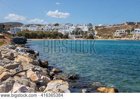 Naousa, Paros Island, Greece - 27 September 2020: View Of The Small Port Town On The Island Of Paros