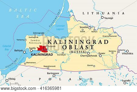 Kaliningrad Oblast, Political Map. Kaliningrad Region, Federal Subject And Semi-enclave Of Russia, L
